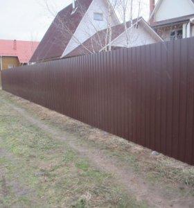 Забор из профнастила С20 0,5 мм 4 лаги RAL 8028 О