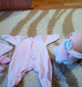 Костюмчик для малышки,ярко розовый
