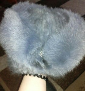 Шапка из меха натуральной голубой норки