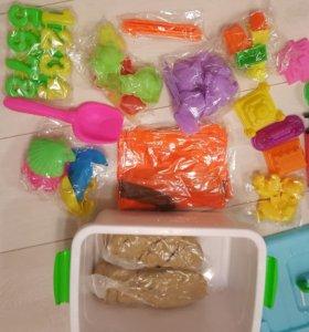 Кинетический песок 6кг + песочница + игрушки