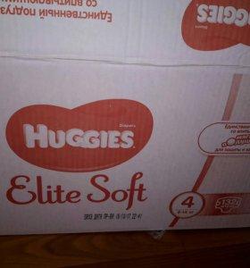 Подгузники Huggies Elite Soft 4, бокс 132 штуки