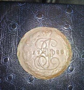Монета Екатерина 2. 5 копеек,1788 года