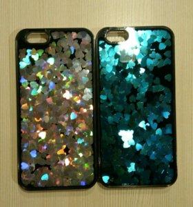 Чехлы на айфон 6,6s с блёстками (сердечки)