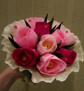 Букет с конфетами, тюльпаны