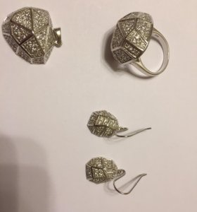 Серьги, кулон, кольцо из серебра