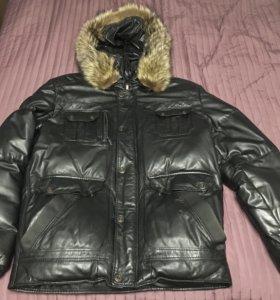 Куртка мужская зимняя из натурально кожи и меха