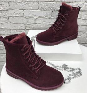 Зимние бордовые ботинки
