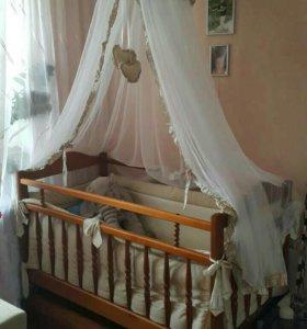 Кроватка/качалка из берёзы, с матрасом, балдахином
