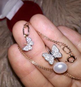 Серебр.цепочка с кулоном и кольцо