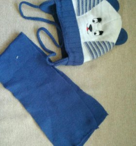 Комплект шапка и шарф 6-9мес