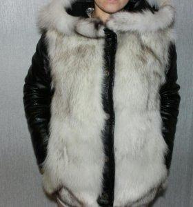 Куртка натуральная кожа, песец