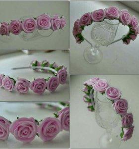 Ободочек с розами из фоамирана