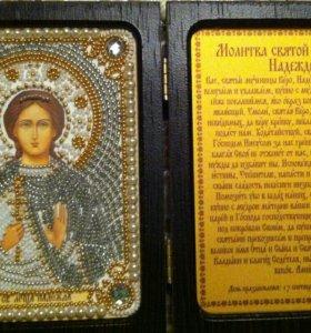 Икона вышитая бисером Святая мученица Надежда