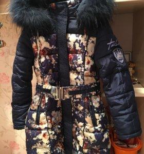 Пальто для девочки зимнее (рост 128)
