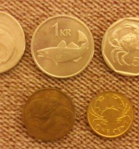 набор монеток с водными животными
