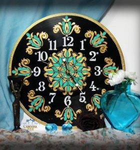 Часы на виниле.Авторская ручная работ