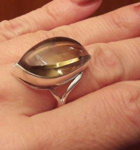 Коктельное кольцо 925.ЦИТРИН.