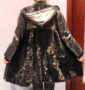Кожано-меховое пальто