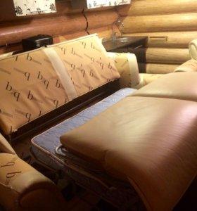 Кожаный диван и одно кресло Британика