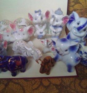 Коллекция слоников 15 штук + подарок