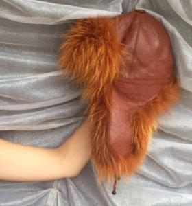 Шапка-ушанка натуральная кожа + натуральный мех