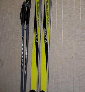 Лыжи 200 см палки 160 см