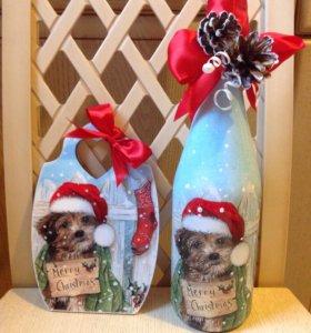 Новогодний декупаж бутылок