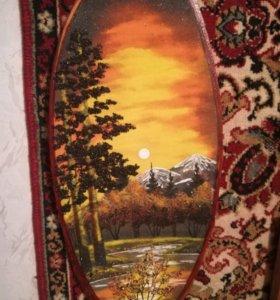 Картина на дереве из самоцветов