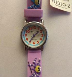 Детские наручные часы тик-так 101ф-2 фиол паучки
