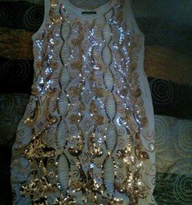 Платье-туника с золотыми пайетками