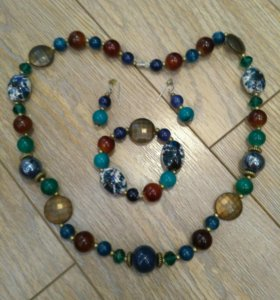 Набор бусы,серьги,браслет из натуральных камней