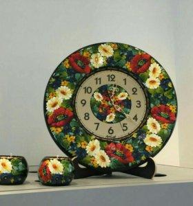 Часы настенные, ручная художественная роспись
