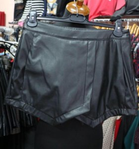 Юбка-шорты кожаные