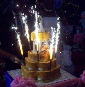 Фонтаны в торт