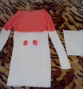 удлиненный свитер с манишкой