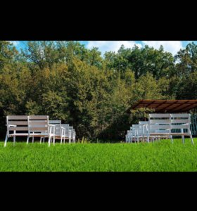 Лавки деревянные , белые