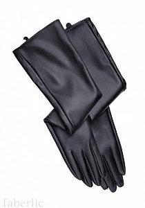 Перчатки черные длинные, экокожа.