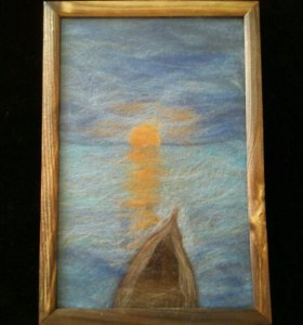 "Картина из шерсти ""Лодка на закате"""