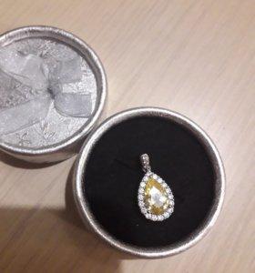 Подвеска серебро 925 фианиты цитрин. Цена до 20.11