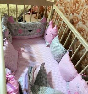 Детские бортики, постельное белье, одеяла