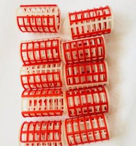 Бигуди крупные круглые жесткие красные 10 шт