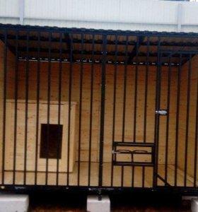 Вольер сборно разборный 2х3 м с утепленной будкой