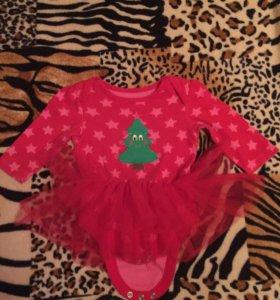 Боди новогоднее и платье на девочку 3-6 мес