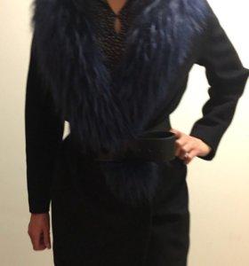 Пальто с натуральным мехом енота оригинал