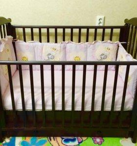 Детская кроватка маятник +матрас