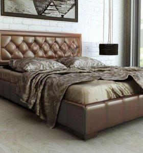 Кровать кожа Бронза 160 с ящиком для белья.