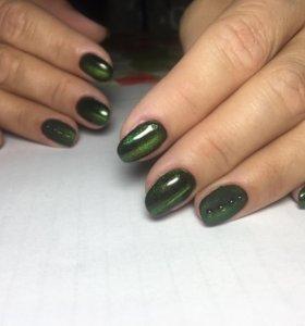 Наращивание ногтей, покрытие гель-лаком.