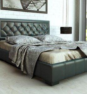 Кровать 160 Кожа серая с ящиком для белья.