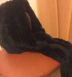 Капор снуд  капюшон новый вязанный мех кролика