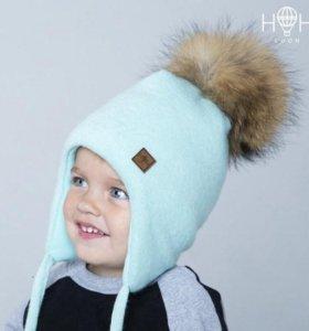 Зимняя шапка с натуральным помпоном, мятный